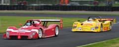 Zadra's Ferrari in front of Damien Faulkner